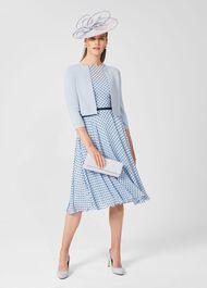 Della Jaquard Spot Dress, Powder Blue Nvy, hi-res
