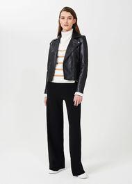 Tania Leather Jacket, Black, hi-res
