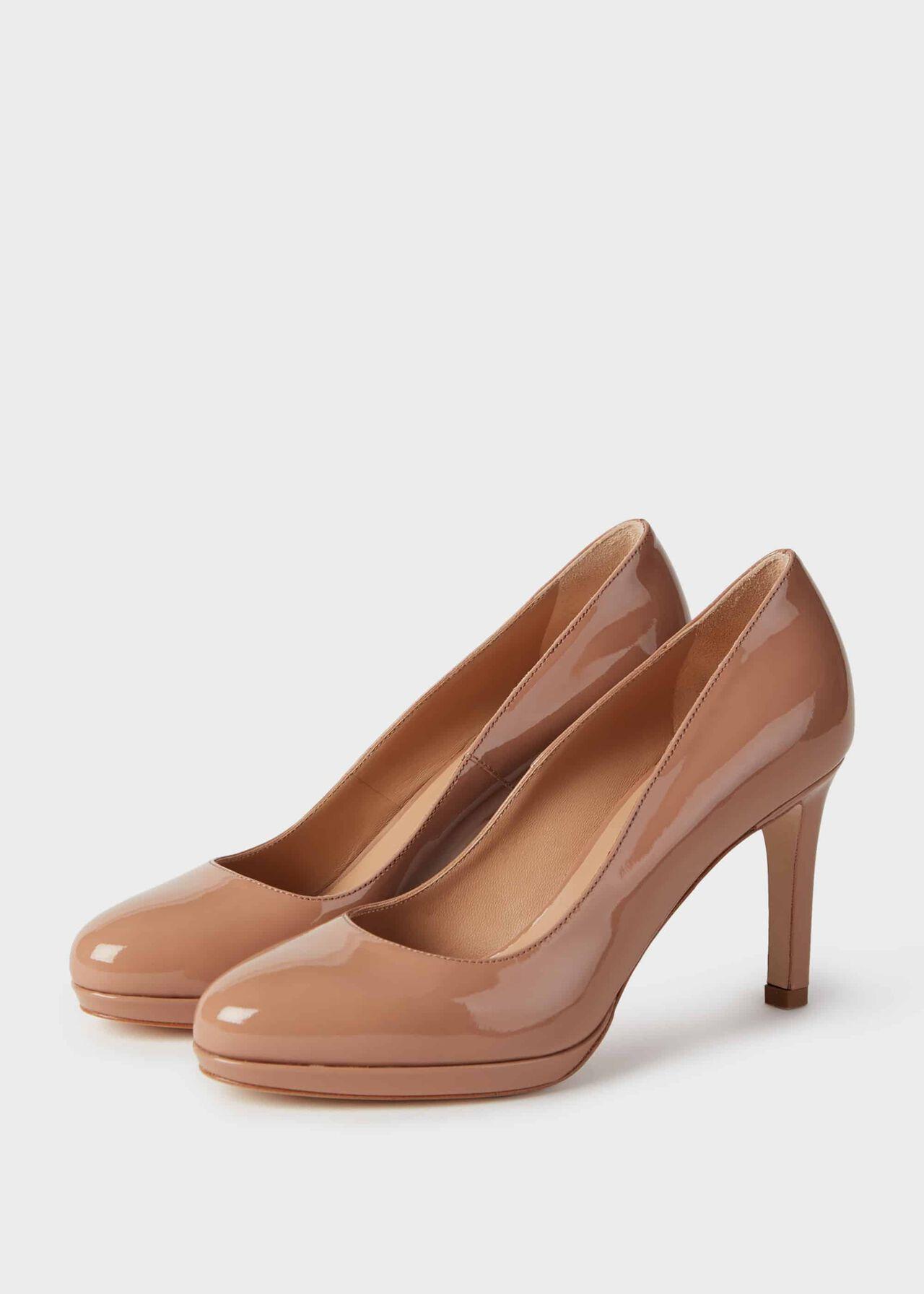 Julietta Patent Stiletto Court Shoes Toasted Almond