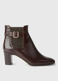 Patricia Buckle Boot, Chocolate Croc, hi-res
