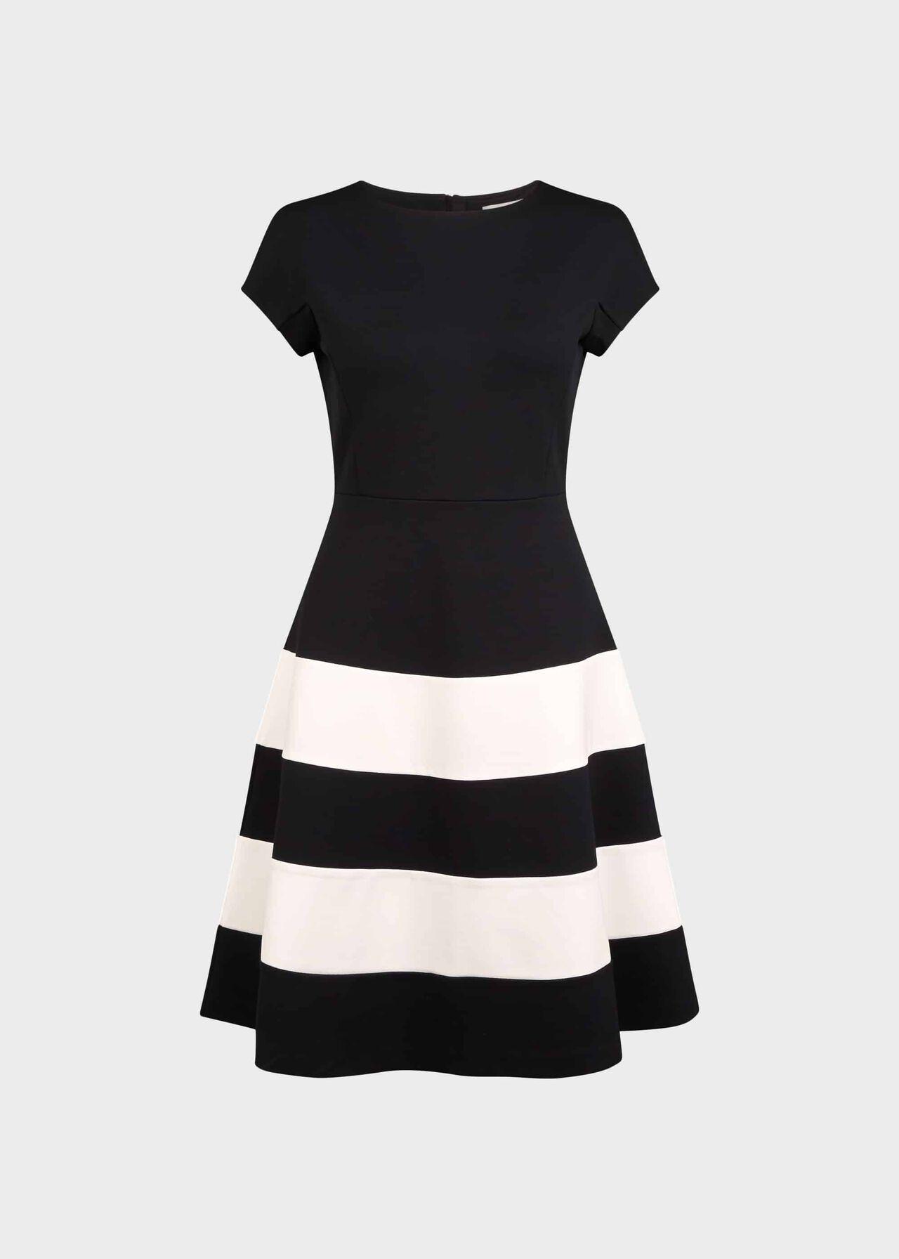 Lizzie Jersey Colourblock Dress Black Ivory