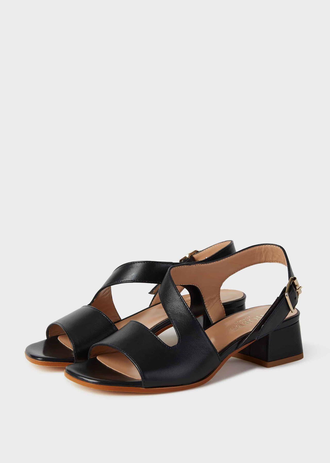 Leather Block Heel Sandals Navy