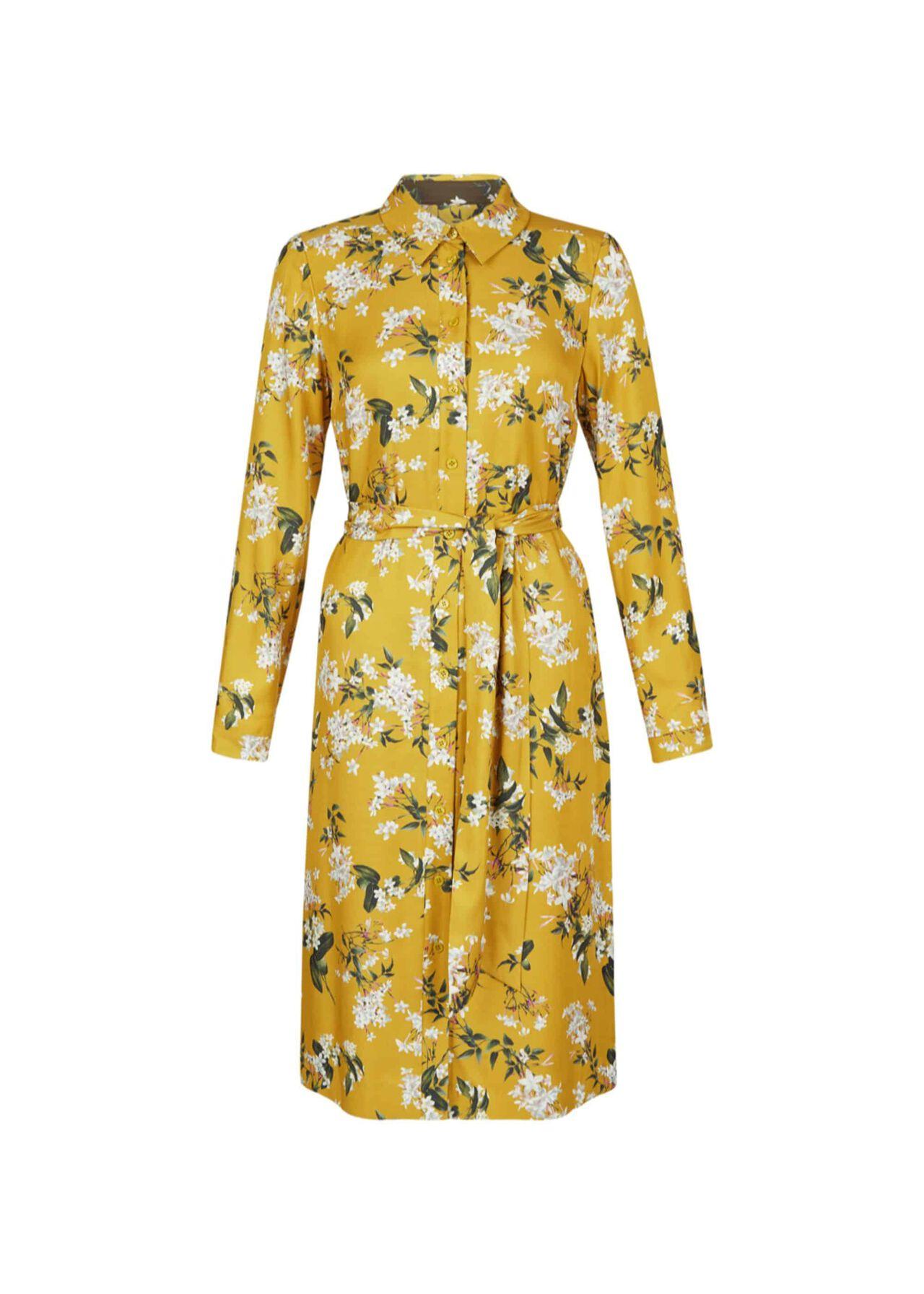 Silk Blend Jasmine Shirt Dress Ochre