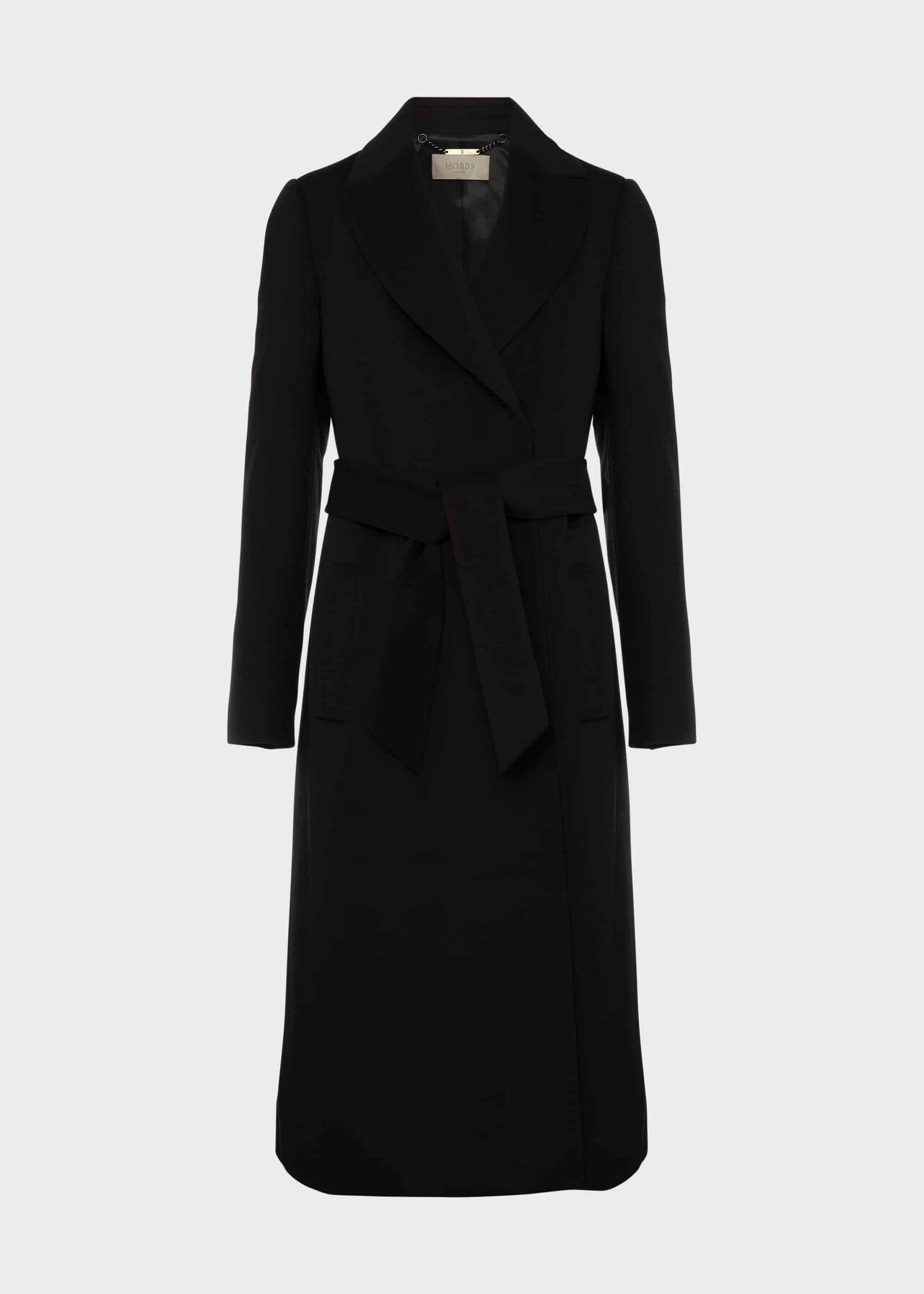 Petite Olivia Wool Wrap Coat Black