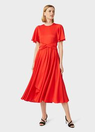 Leia Satin Fit And Flare Dress, Flame Red, hi-res