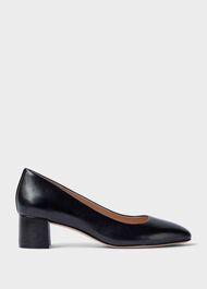 Abbey Leather Court Shoes , Black, hi-res