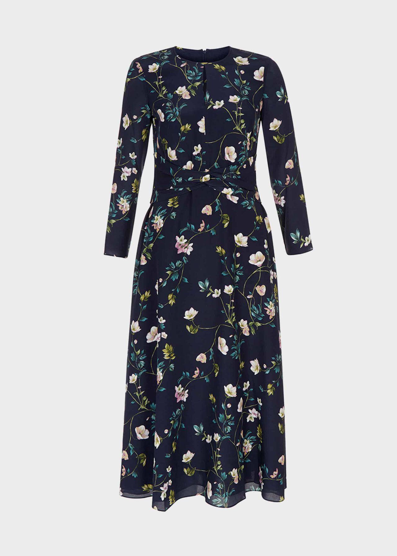 Silk Hellebore Dress Navy