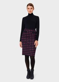 Valerie Wool Spot Pencil Skirt, Navy Pink, hi-res
