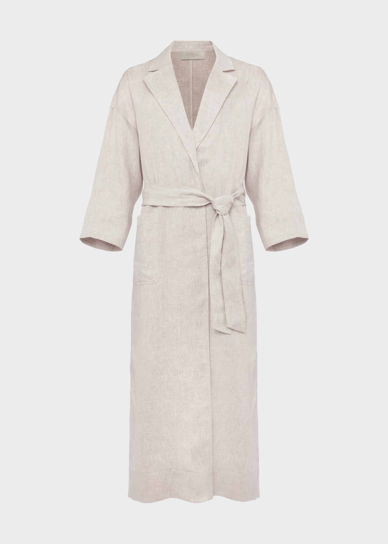 Maeve Linen Wrap Trench Coat Neutral