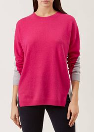 Megan Wool Cashmere Sweater, Pink Grey, hi-res