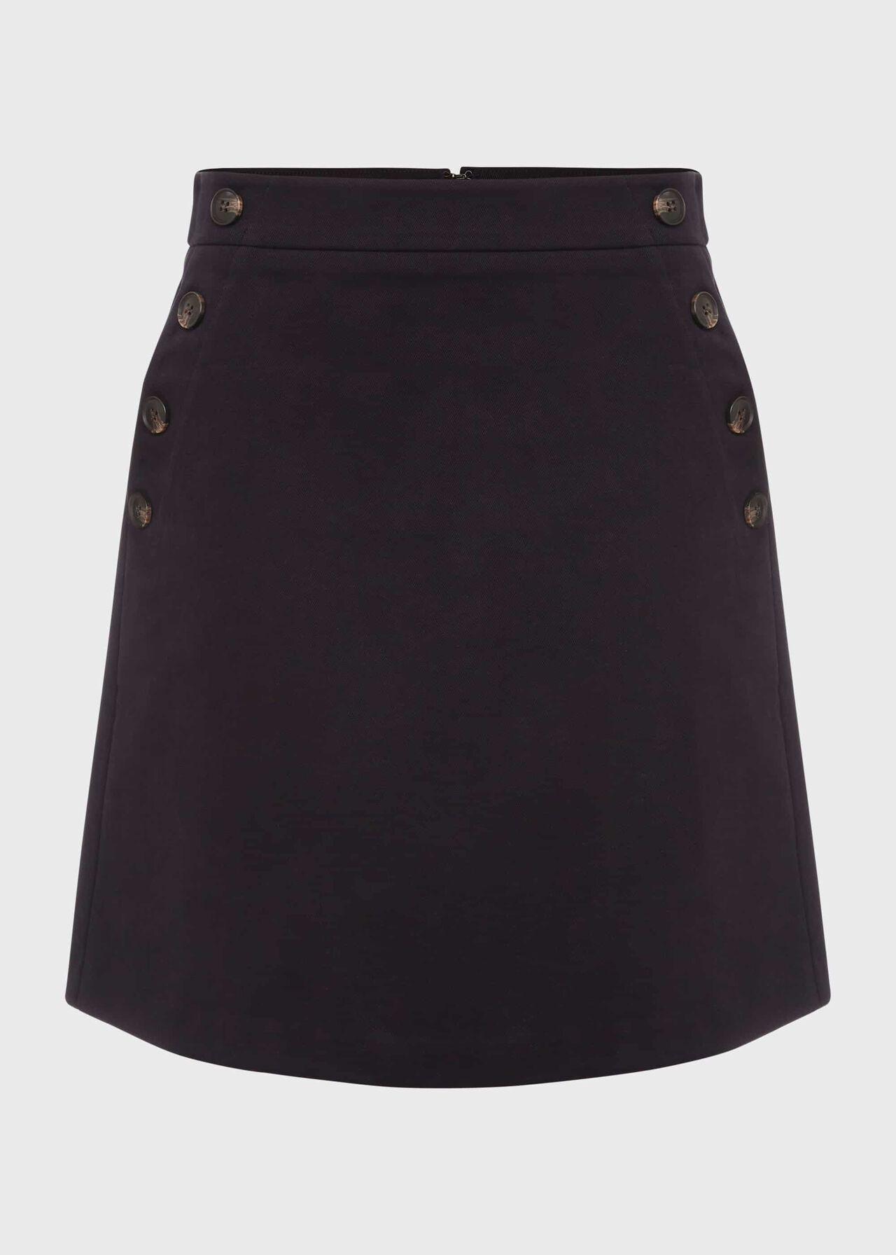 Jordan Cotton Blend A Line Skirt, Navy, hi-res