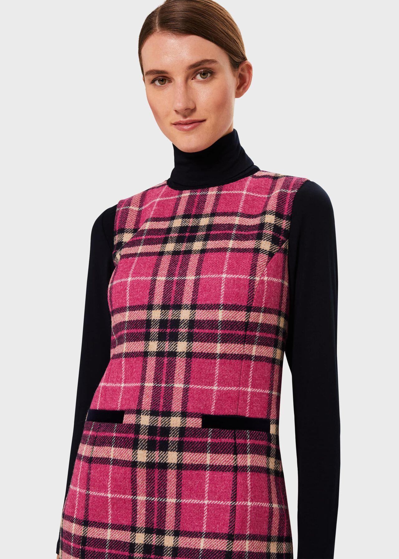 Petite Margot Wool Check Shift Dress Pink Navy