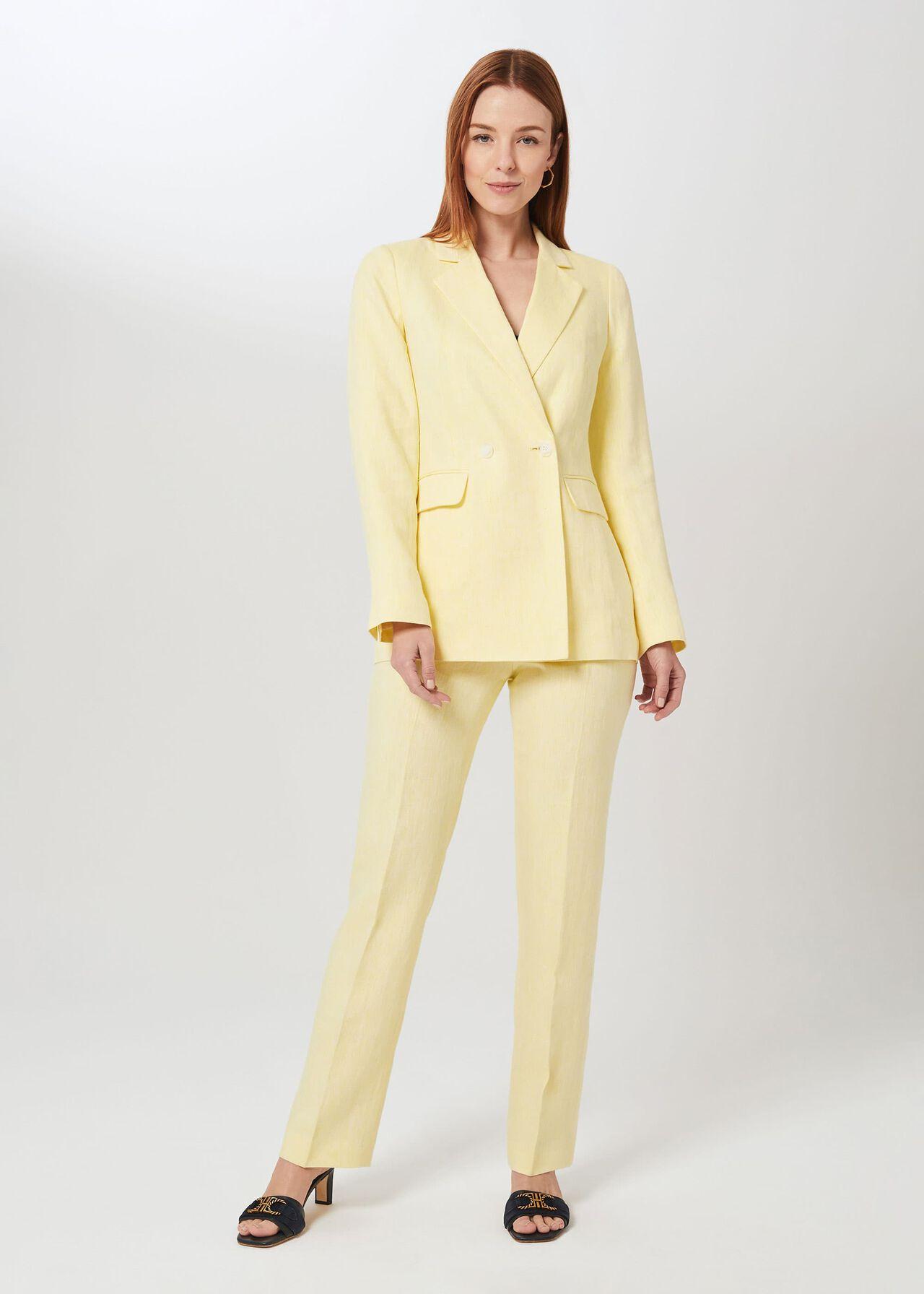 Asher Linen Pant, Yellow, hi-res