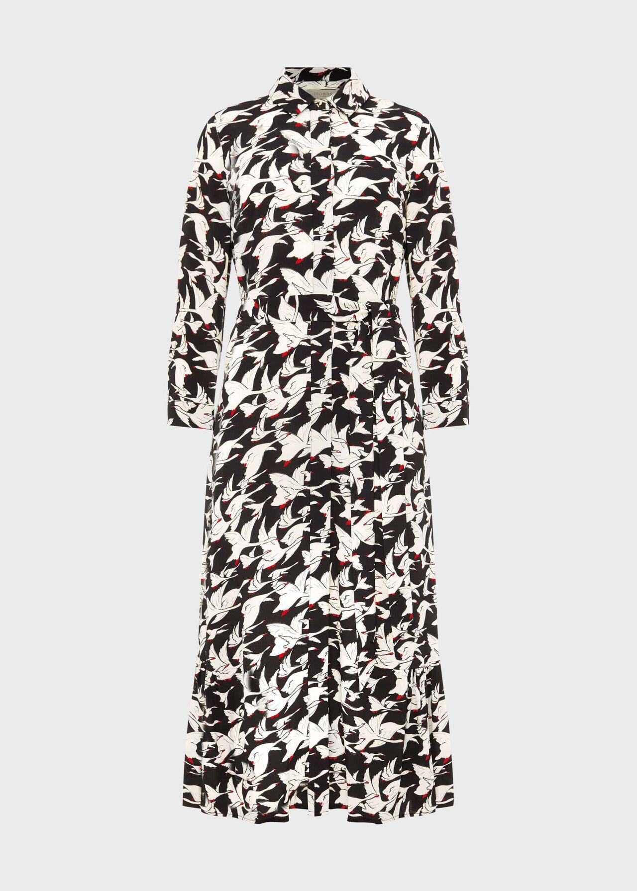 Eliana Print Midi Dress Black Ivory
