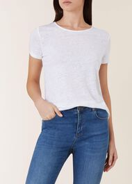 Piper Linen Top, White, hi-res