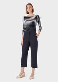Marlena Cotton Blend Wide Leg Chinos, Navy, hi-res