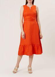 Rita Linen Dress, Mango Orange, hi-res