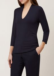 Aimee Ruched Top, Navy, hi-res
