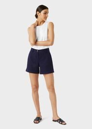 Chessie Cotton Blend Shorts, Navy, hi-res