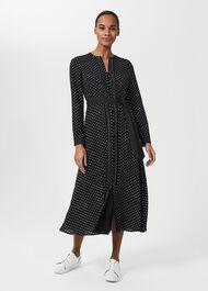 Thea Spot Midi Shirt Dress, Black Ivory, hi-res