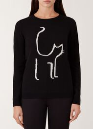 Sophie Wool Cashmere Sweater, Black Ivory, hi-res