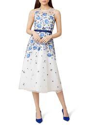 Alena Dress, Ivory Blue, hi-res