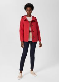 Ceira Water Resistant Coat With Hood, Red, hi-res