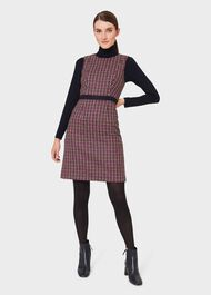 Penelope Wool Check Shift Dress, Pink Lime Green, hi-res