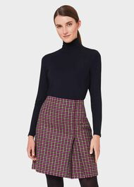 Avery Wool Check Pleated Skirt, Pink Lime Green, hi-res