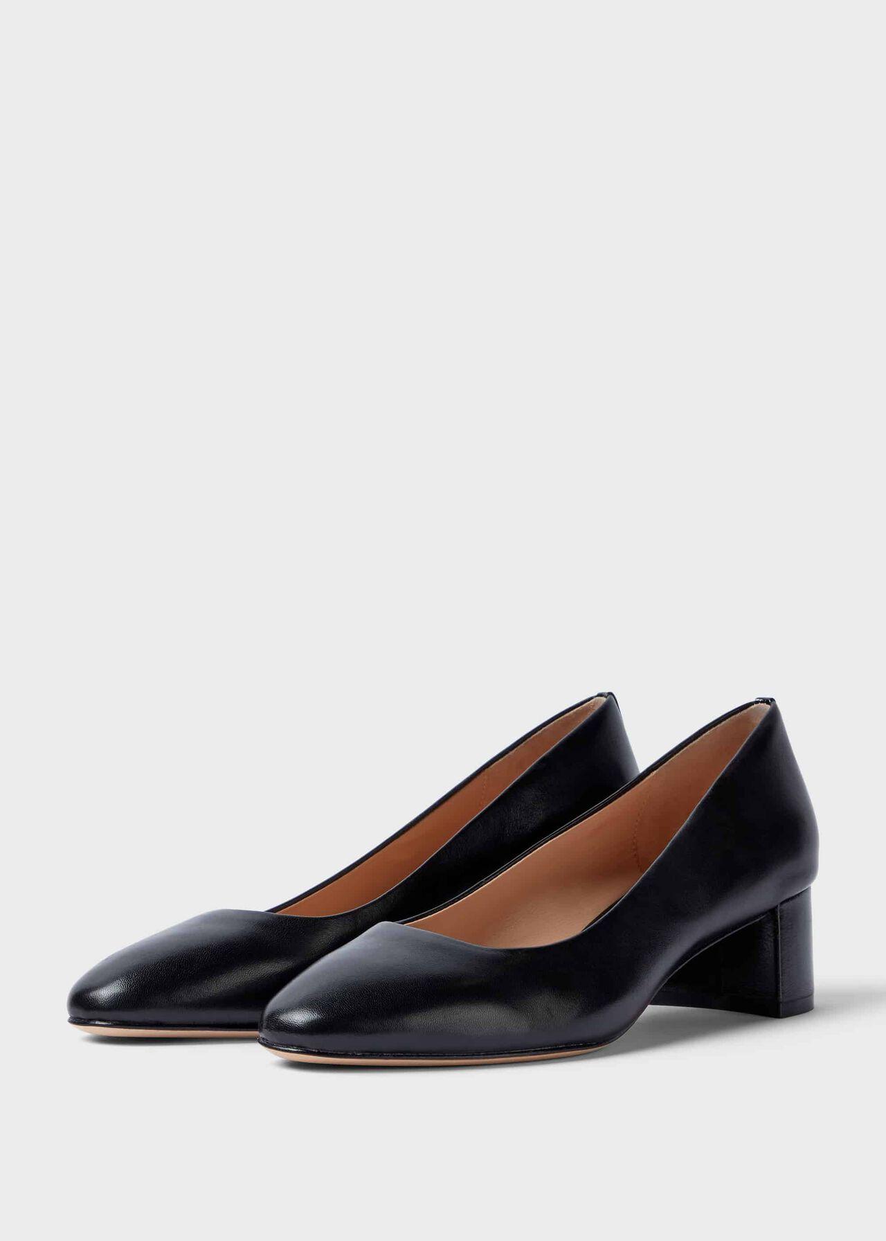 Abbey Leather Court Shoes Black