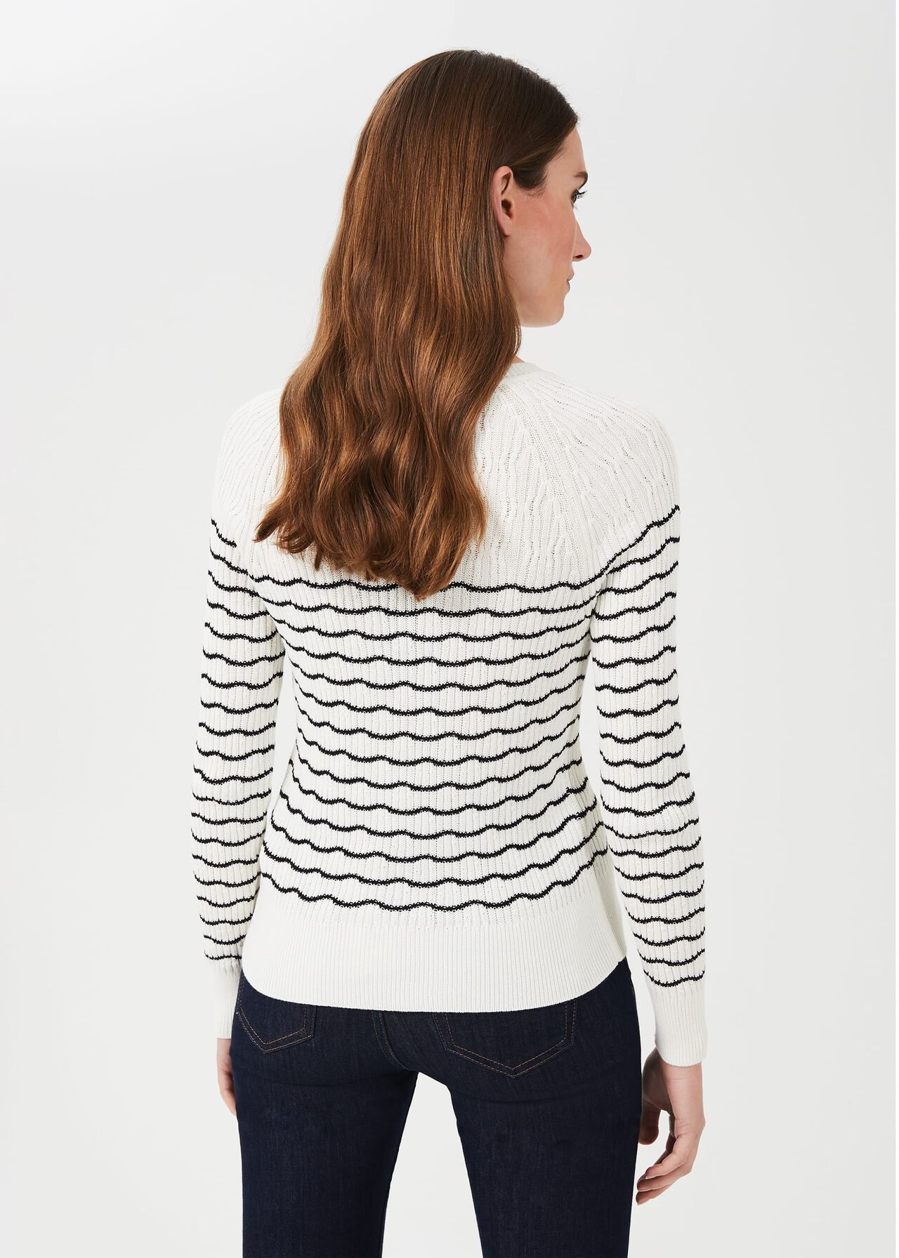 Daniella Cotton Blend Stripe Jumper, Ivory Black, hi-res
