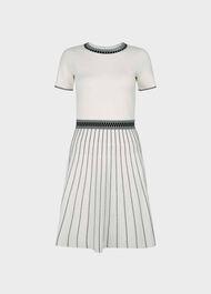 Millie Knitted Dress, Ivory Black, hi-res