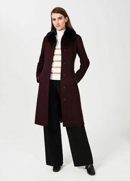 Edeline Wool Coat With Faux Fur Collar, Wine, hi-res