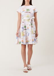 Sorrento Linen Dress, White Multi, hi-res