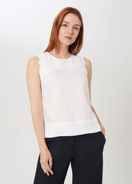 Finley Linen Top, White, hi-res