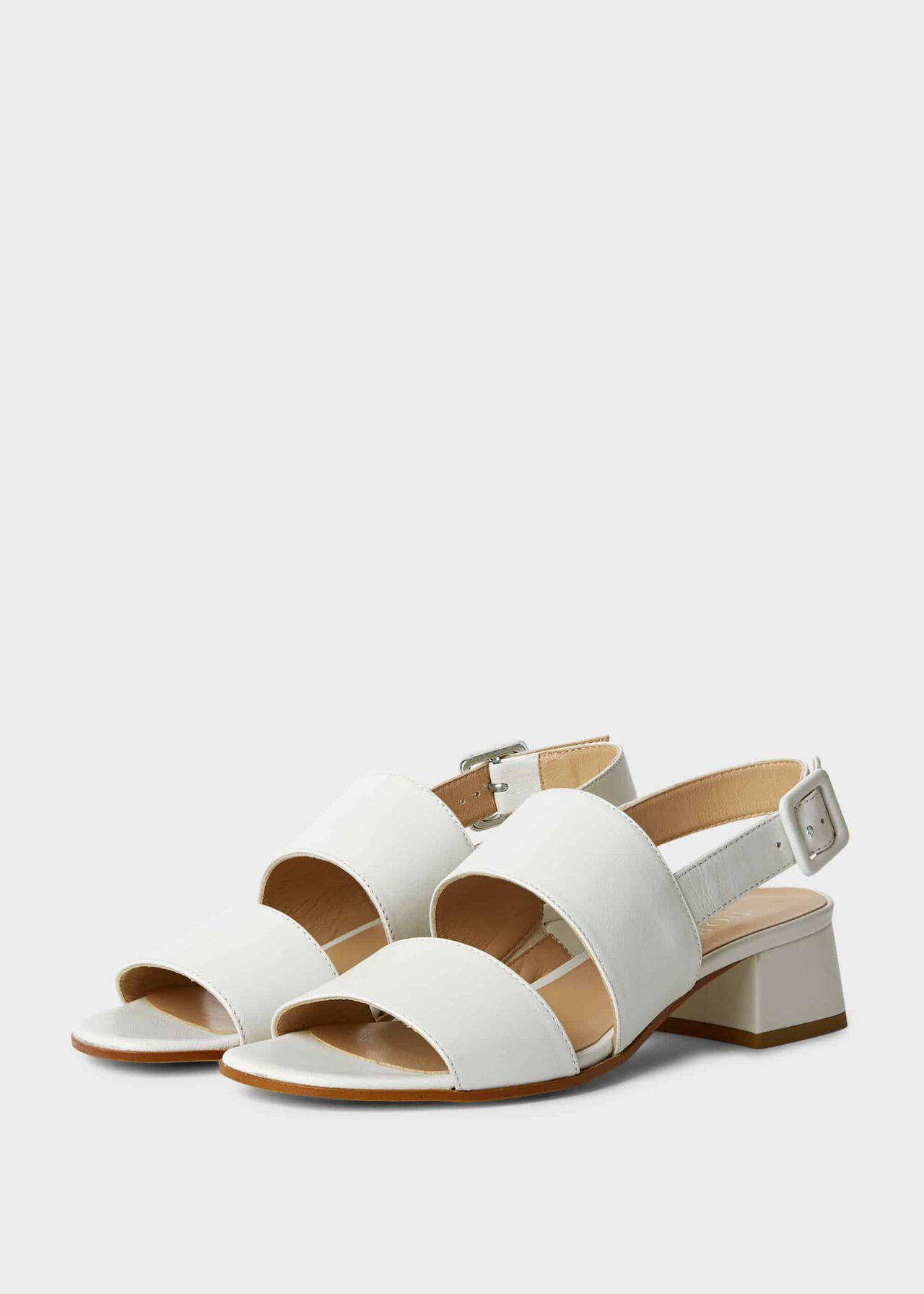 Claudia Leather Block Heel Sandals Ice White