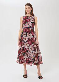 Carly Floral Midi Dress, Peony Pink, hi-res