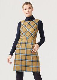 Hattie Wool Dress, Mustard Multi, hi-res