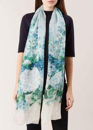 Hydrangea Silk Scarf, Blue, hi-res