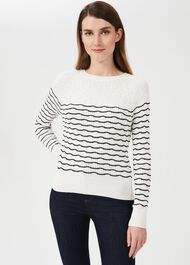 Daniella Cotton Blend Stripe Jumper, Ivory Black, hi-res