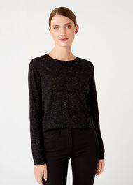 Emi Sparkle Sweater, Black Silver, hi-res