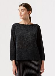 Logan Sparkle Sweater, Black Silver, hi-res