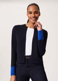 Victoria Knitted Jacket , Navy Azure Blue, hi-res