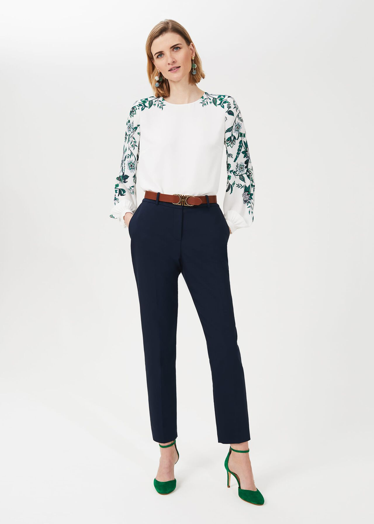 Zoey Floral Puff Sleeve Blouse, Ivory Multi, hi-res