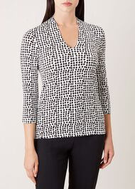 Aimee Printed Top, Black Ivory, hi-res