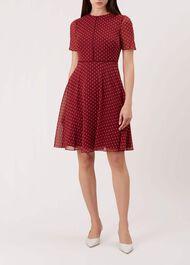 Cecily Spot Dress, Burgundy Ivory, hi-res