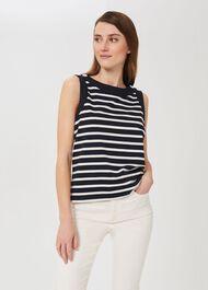 Maddy Stripe Vest, Navy Ivory, hi-res