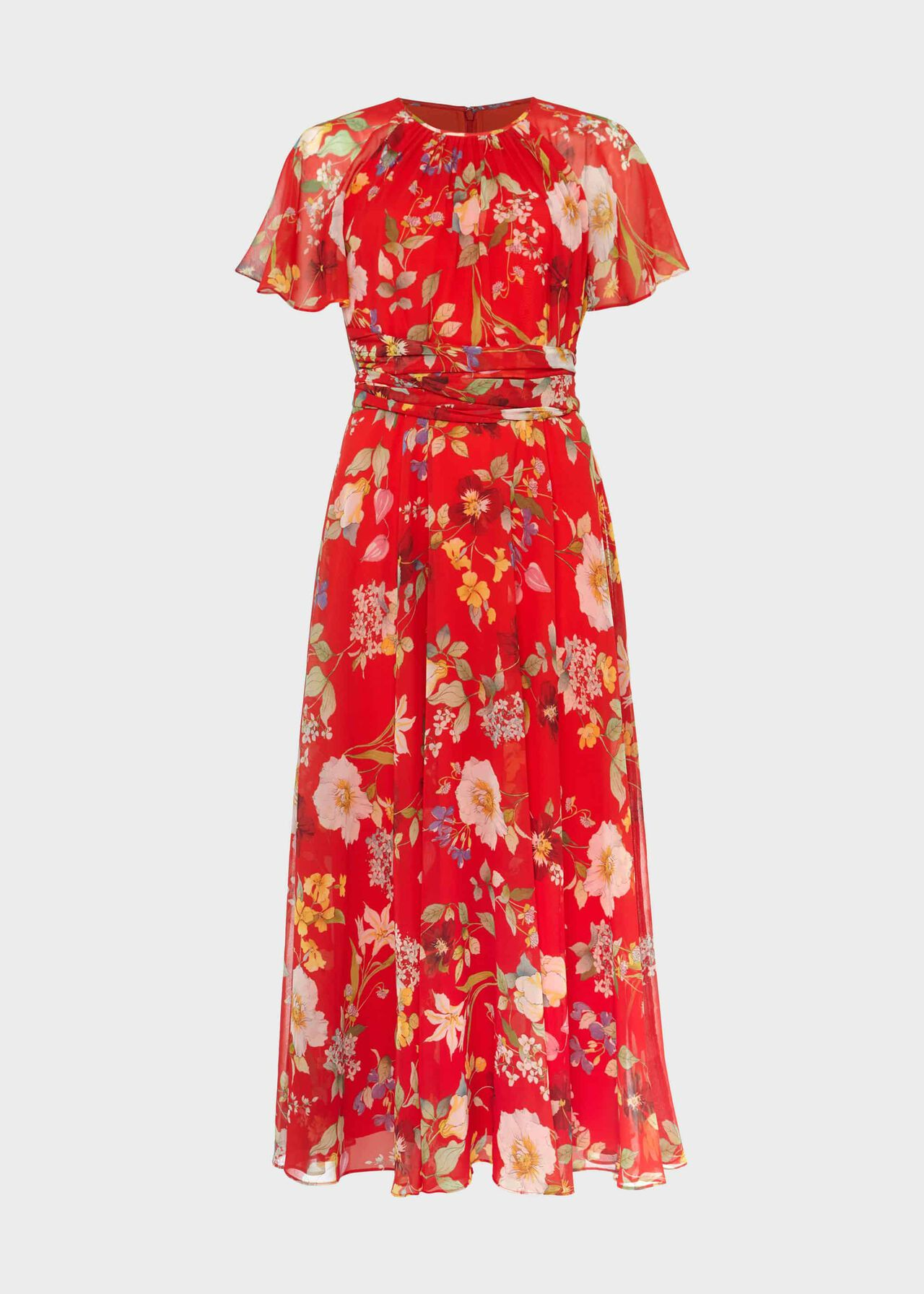 Sarah Floral Midi Dress Flame Red