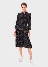 Emmaline Midi Dress, Navy Ivory, hi-res