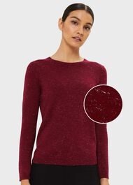 Penny Sparkle Cotton Blend Sweater,  Dark Raspberry, hi-res